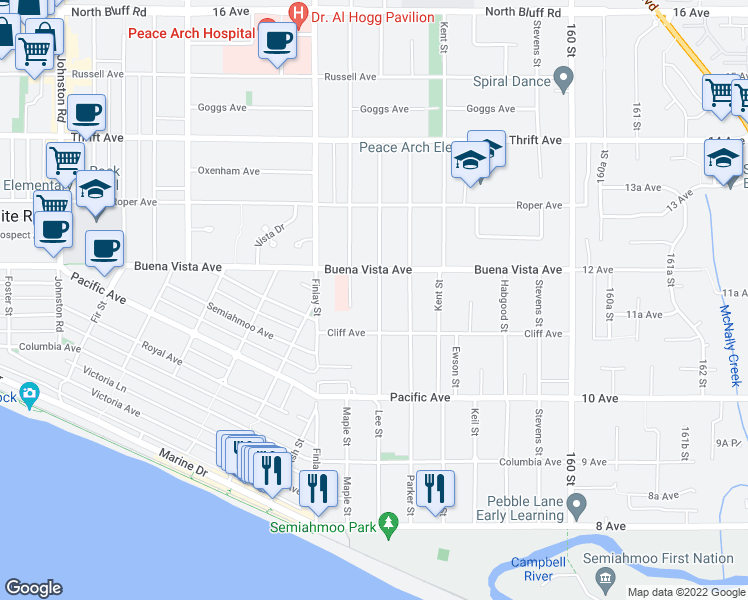 map of restaurants, bars, coffee shops, grocery stores, and more near 1151 Lee Street in White Rock