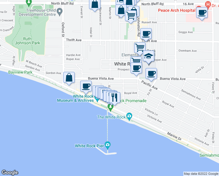 map of restaurants, bars, coffee shops, grocery stores, and more near 1152 Martin Street in White Rock
