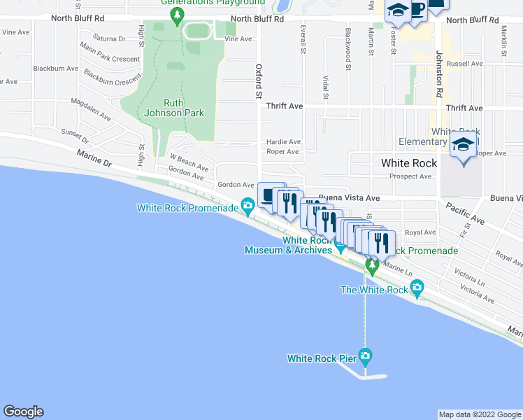 map of restaurants, bars, coffee shops, grocery stores, and more near 1150 Oxford Street in White Rock