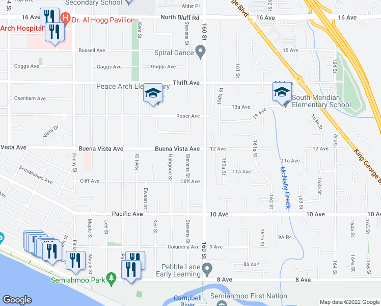 map of restaurants, bars, coffee shops, grocery stores, and more near 15958 Buena Vista Avenue in White Rock