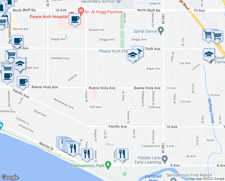 map of restaurants, bars, coffee shops, grocery stores, and more near 15736 Buena Vista Avenue in White Rock