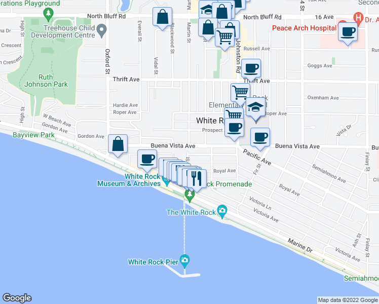map of restaurants, bars, coffee shops, grocery stores, and more near 15046 Buena Vista Avenue in White Rock