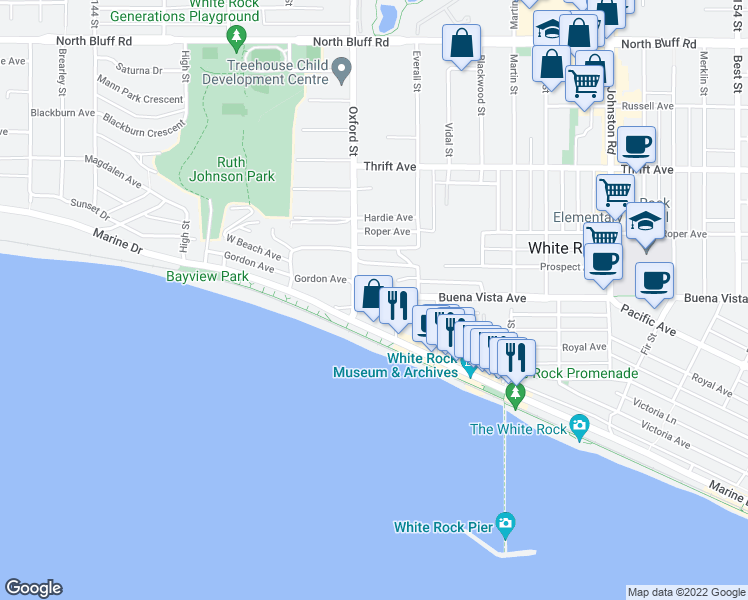 map of restaurants, bars, coffee shops, grocery stores, and more near 14820 Buena Vista Avenue in White Rock