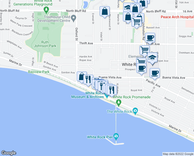 map of restaurants, bars, coffee shops, grocery stores, and more near 14918 Buena Vista Avenue in White Rock