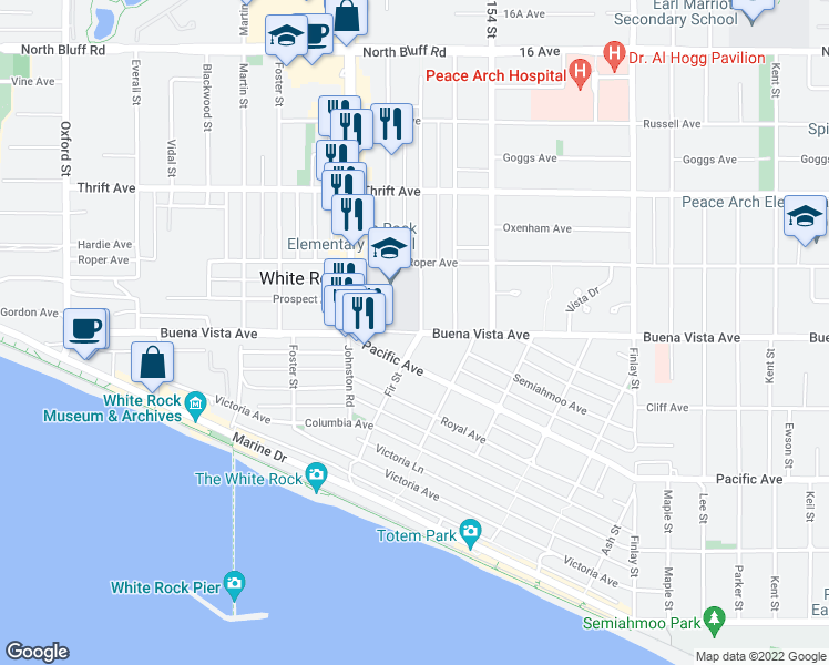 map of restaurants, bars, coffee shops, grocery stores, and more near 15284 Buena Vista Avenue in White Rock