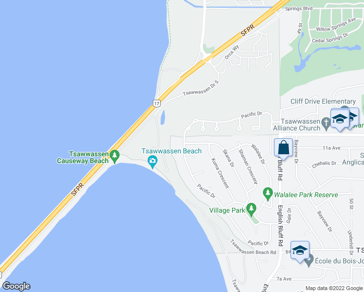 map of restaurants, bars, coffee shops, grocery stores, and more near 1143 Pacific Drive in Delta