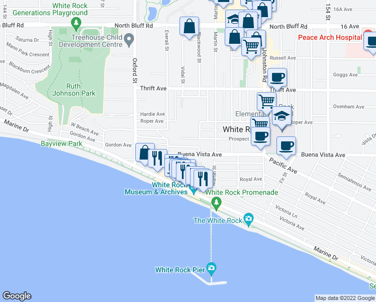 map of restaurants, bars, coffee shops, grocery stores, and more near 14961 Buena Vista Avenue in White Rock