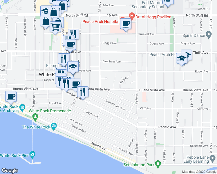 map of restaurants, bars, coffee shops, grocery stores, and more near 15453 Buena Vista Avenue in White Rock
