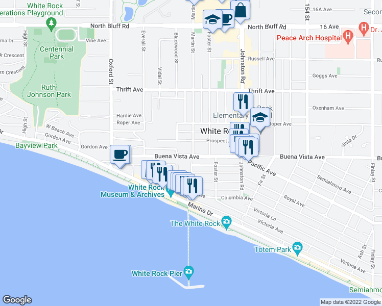 map of restaurants, bars, coffee shops, grocery stores, and more near 1219 Martin Street in White Rock