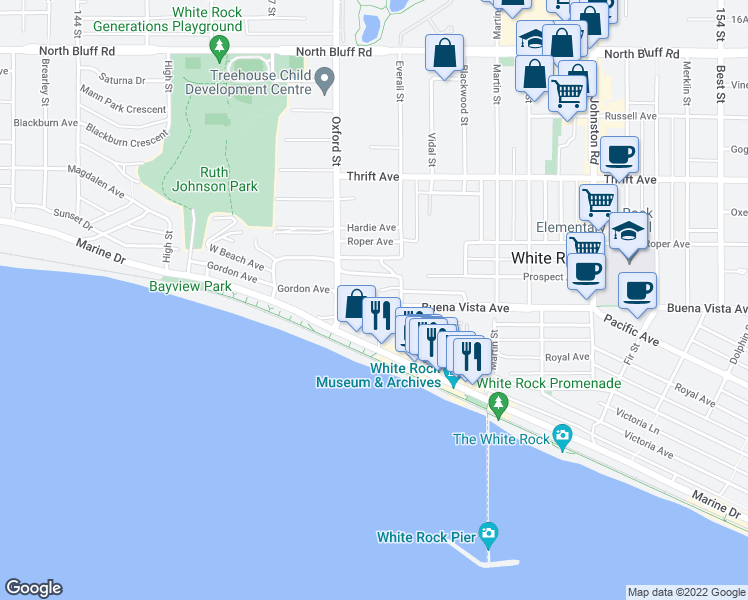 map of restaurants, bars, coffee shops, grocery stores, and more near 14857 Buena Vista Avenue in White Rock
