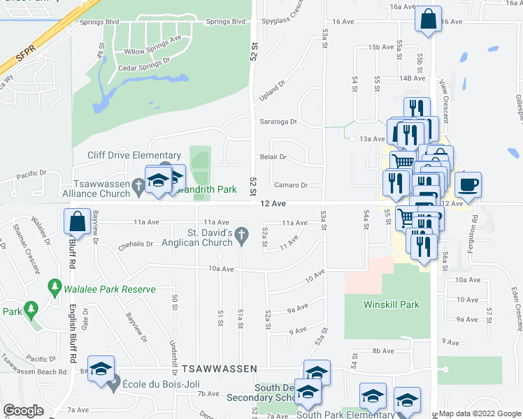 map of restaurants, bars, coffee shops, grocery stores, and more near 5214 12 Avenue in Delta