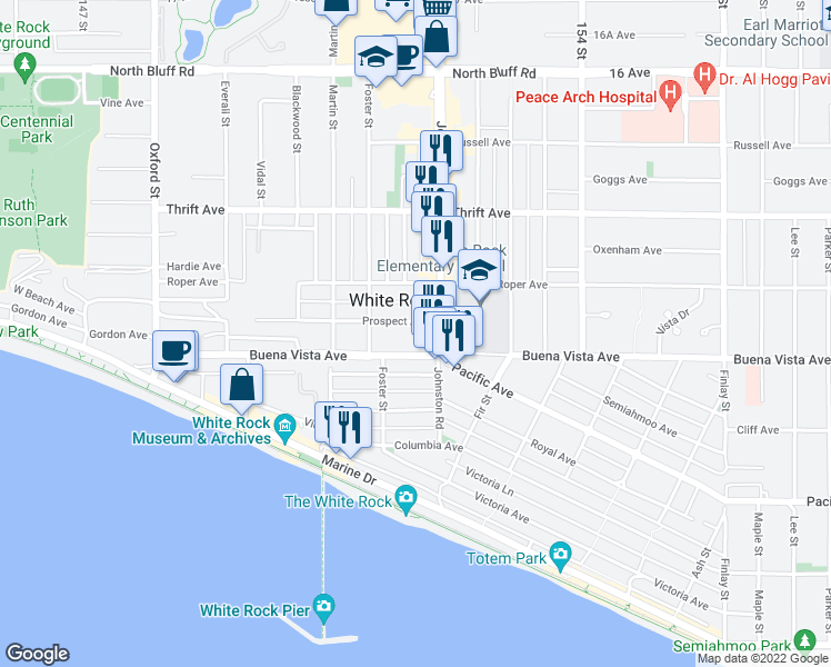 map of restaurants, bars, coffee shops, grocery stores, and more near 15164 Prospect Avenue in White Rock