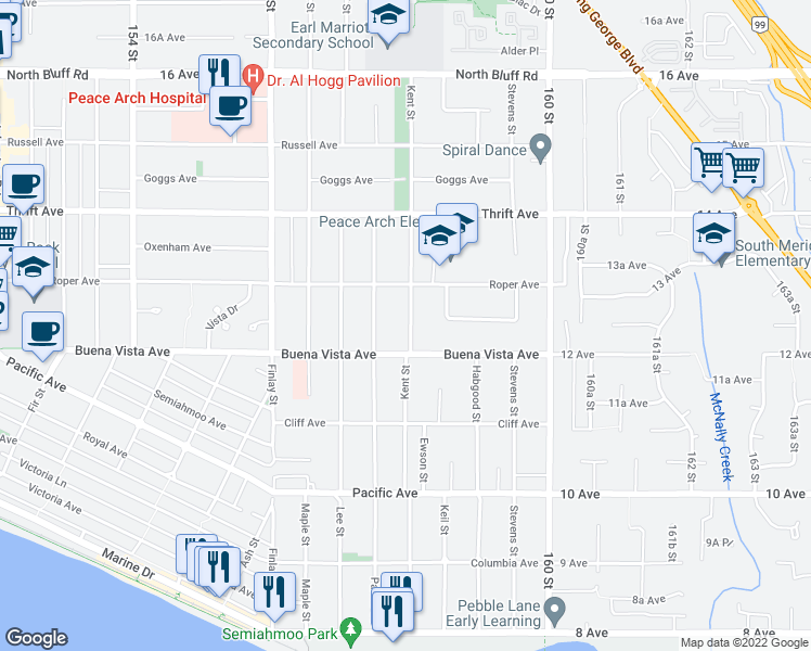 map of restaurants, bars, coffee shops, grocery stores, and more near 1251 Kent Street in White Rock