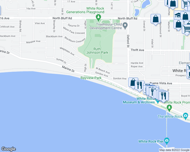 map of restaurants, bars, coffee shops, grocery stores, and more near 14597 Marine Drive in White Rock
