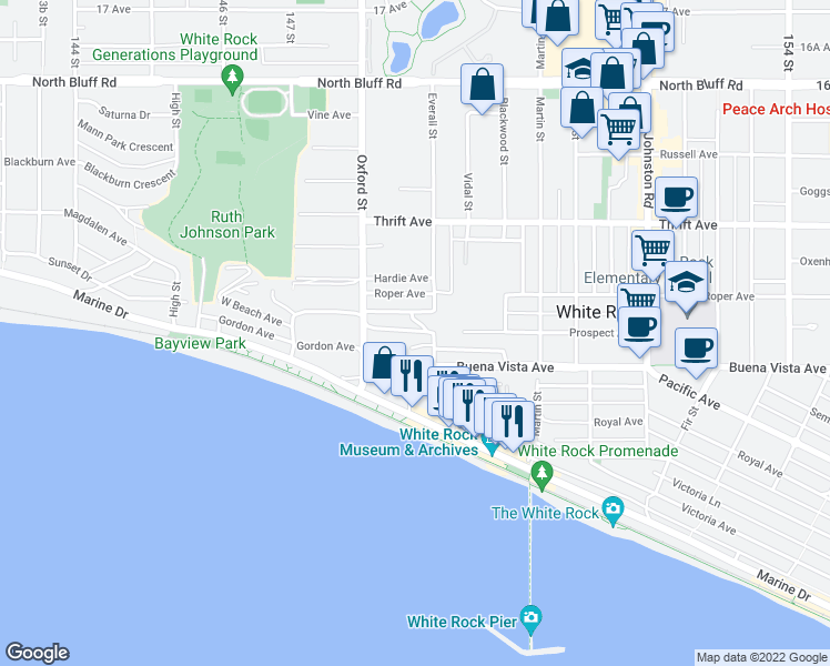 map of restaurants, bars, coffee shops, grocery stores, and more near 14870 Prospect Avenue in White Rock
