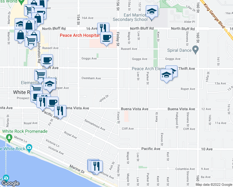 map of restaurants, bars, coffee shops, grocery stores, and more near 1267 Finlay Street in White Rock