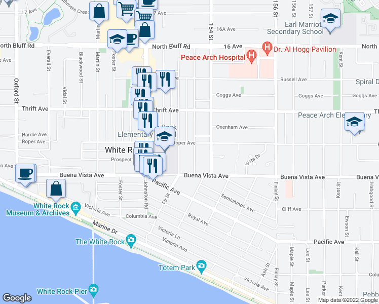 map of restaurants, bars, coffee shops, grocery stores, and more near 1273 Merklin Street in White Rock