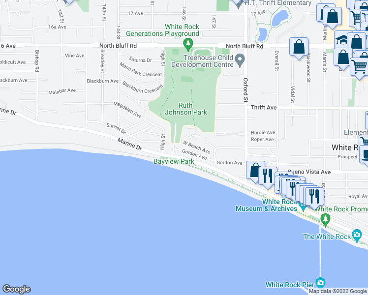map of restaurants, bars, coffee shops, grocery stores, and more near 14608 West Beach Avenue in White Rock