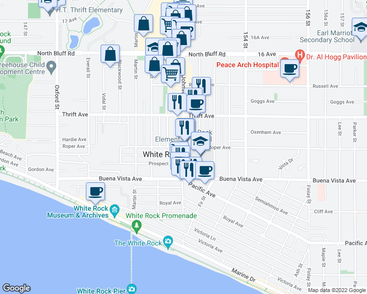 map of restaurants, bars, coffee shops, grocery stores, and more near in White Rock