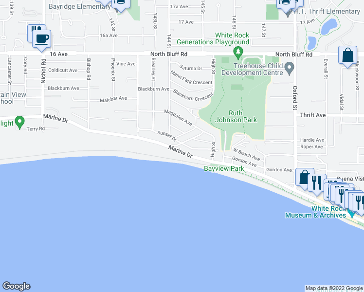 map of restaurants, bars, coffee shops, grocery stores, and more near 14432 Sunset Drive in White Rock