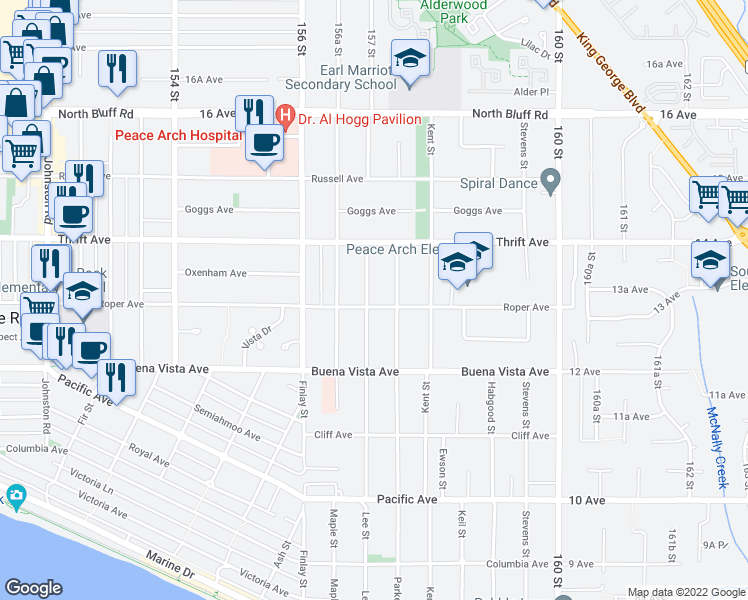 map of restaurants, bars, coffee shops, grocery stores, and more near 15711 Roper Avenue in White Rock