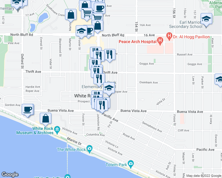map of restaurants, bars, coffee shops, grocery stores, and more near 15265 Roper Avenue in White Rock