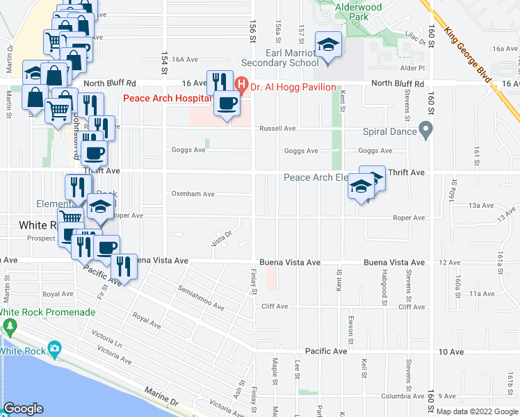 map of restaurants, bars, coffee shops, grocery stores, and more near 1320 Finlay Street in White Rock