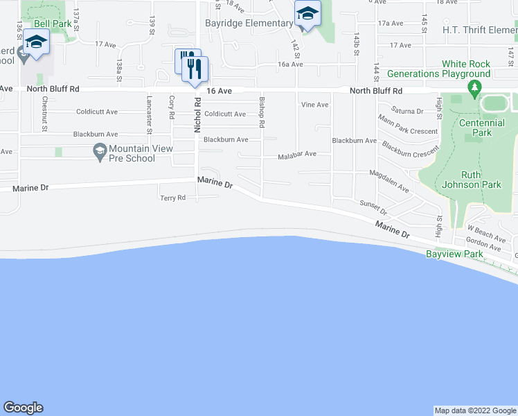 map of restaurants, bars, coffee shops, grocery stores, and more near 14146 Marine Drive in White Rock