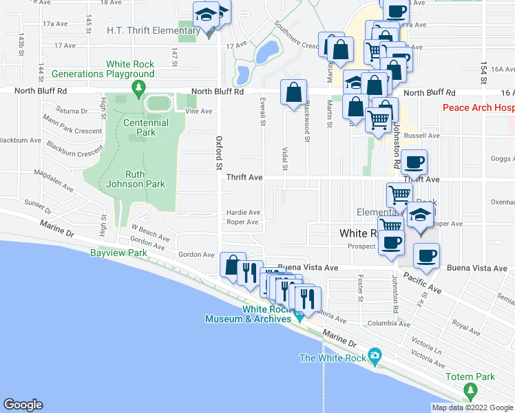 map of restaurants, bars, coffee shops, grocery stores, and more near 14887 Hardie Avenue in White Rock