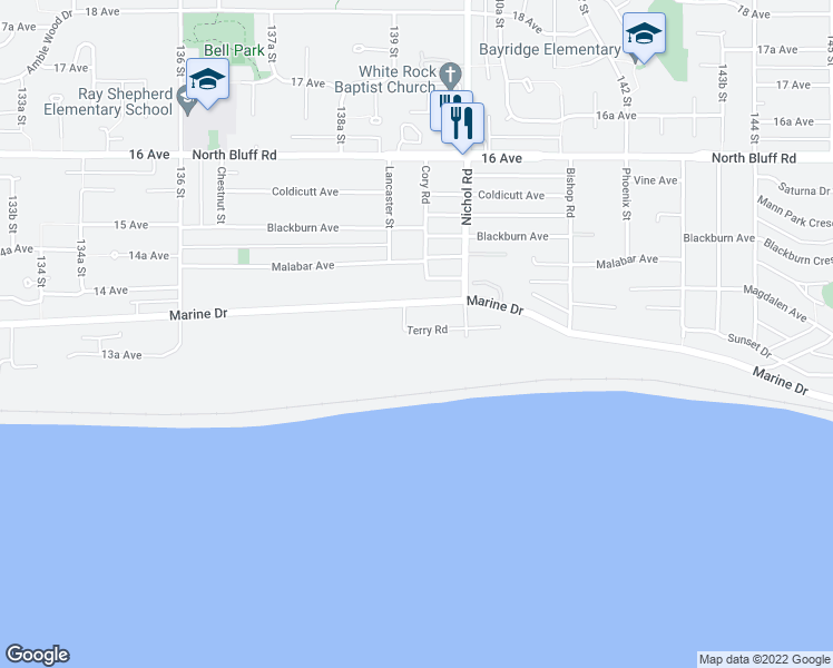 map of restaurants, bars, coffee shops, grocery stores, and more near 13922 Terry Road in White Rock