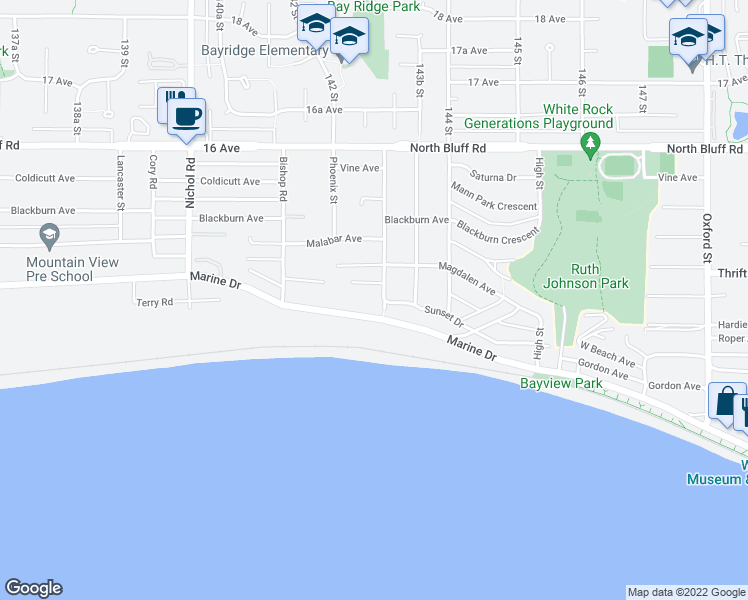 map of restaurants, bars, coffee shops, grocery stores, and more near 1375 Kerfoot Road in White Rock