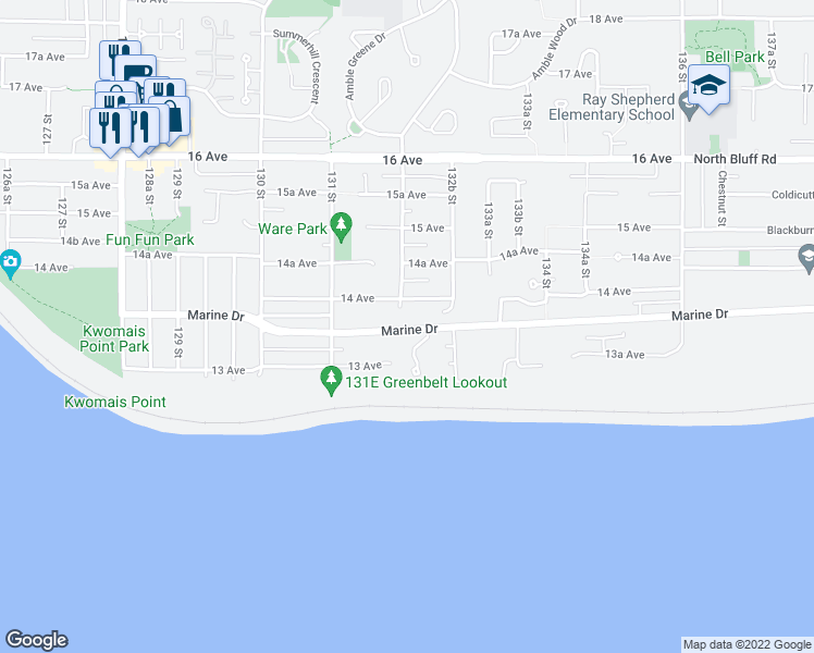 map of restaurants, bars, coffee shops, grocery stores, and more near 13209 Marine Drive in Surrey