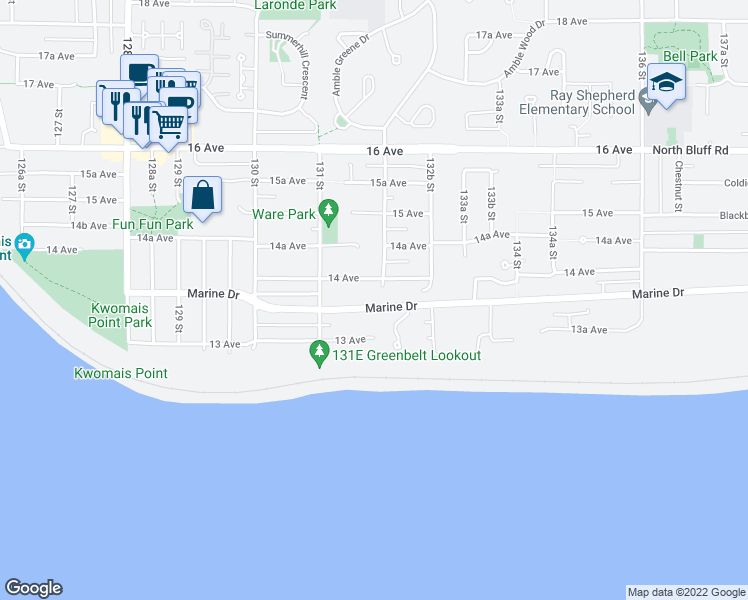 map of restaurants, bars, coffee shops, grocery stores, and more near 13179 Marine Drive in Surrey