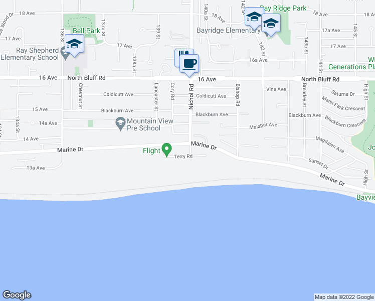 map of restaurants, bars, coffee shops, grocery stores, and more near 13986 Marine Drive in White Rock