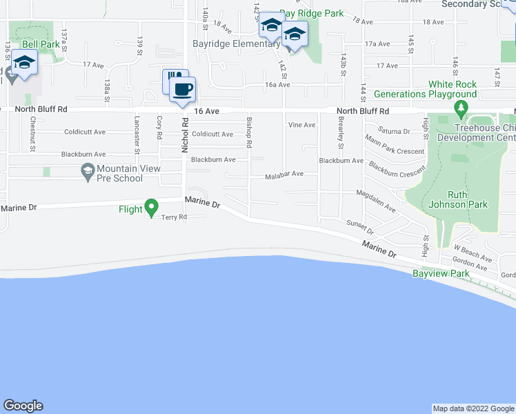 map of restaurants, bars, coffee shops, grocery stores, and more near 14170 Wheatley Avenue in White Rock