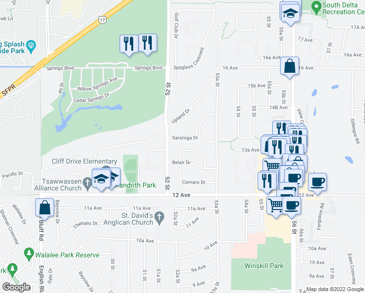 map of restaurants, bars, coffee shops, grocery stores, and more near 5257 Belair Crescent in Delta