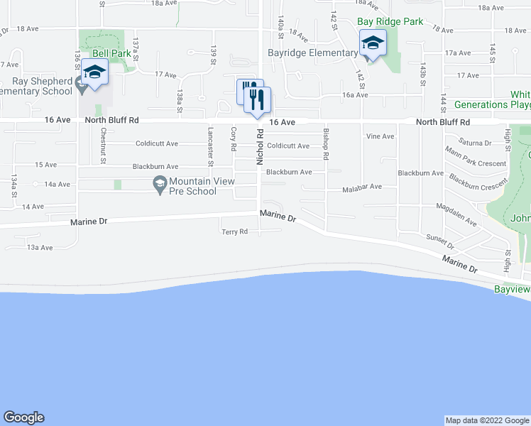 map of restaurants, bars, coffee shops, grocery stores, and more near 14020 Marine Drive in White Rock