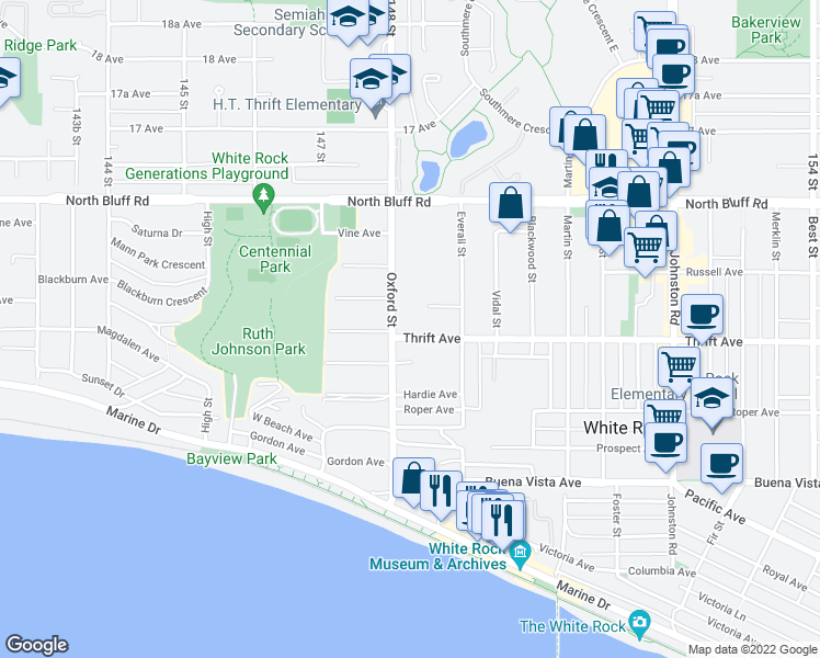 map of restaurants, bars, coffee shops, grocery stores, and more near 14825 Thrift Avenue in White Rock