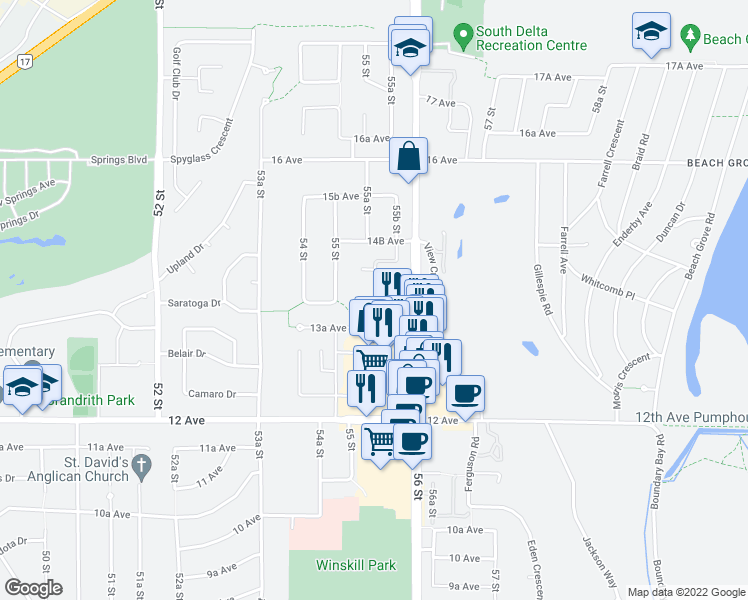 map of restaurants, bars, coffee shops, grocery stores, and more near 5518 14 Avenue in Delta