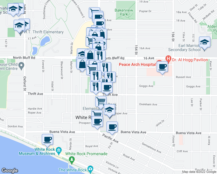map of restaurants, bars, coffee shops, grocery stores, and more near 1439 George Street in White Rock