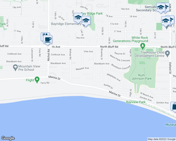 map of restaurants, bars, coffee shops, grocery stores, and more near 14262 Malabar Avenue in White Rock