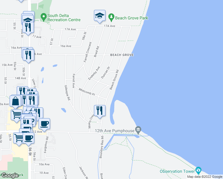 map of restaurants, bars, coffee shops, grocery stores, and more near 1420 Beach Grove Road in Delta