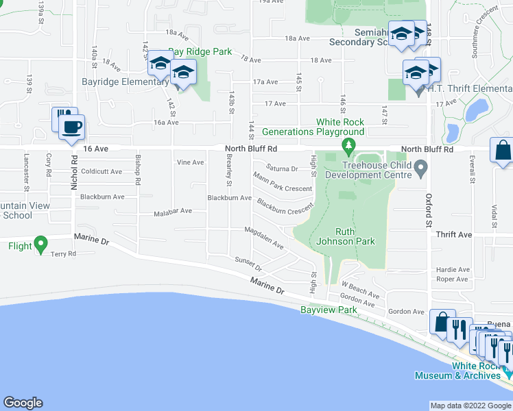 map of restaurants, bars, coffee shops, grocery stores, and more near 14418 Blackburn Crescent in White Rock