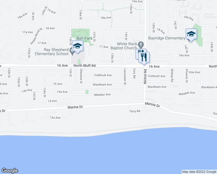 map of restaurants, bars, coffee shops, grocery stores, and more near 13800 Blackburn Avenue in White Rock