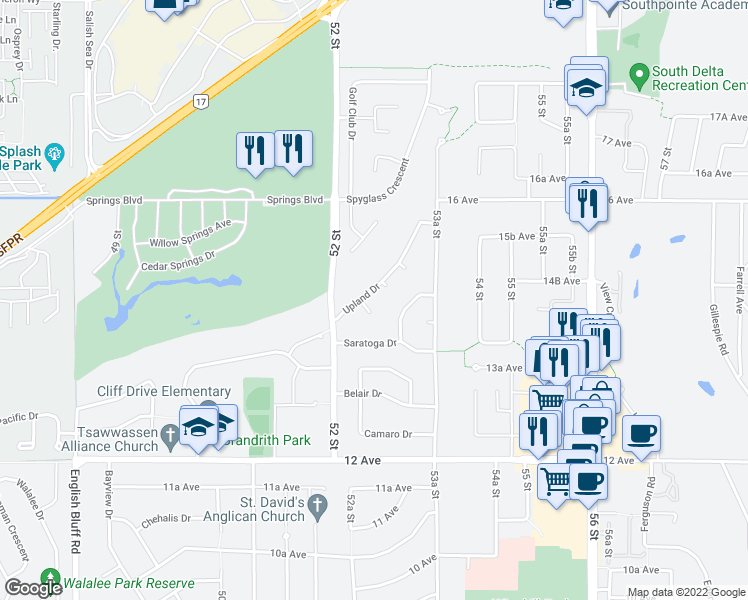 map of restaurants, bars, coffee shops, grocery stores, and more near 5244 Upland Place in Delta