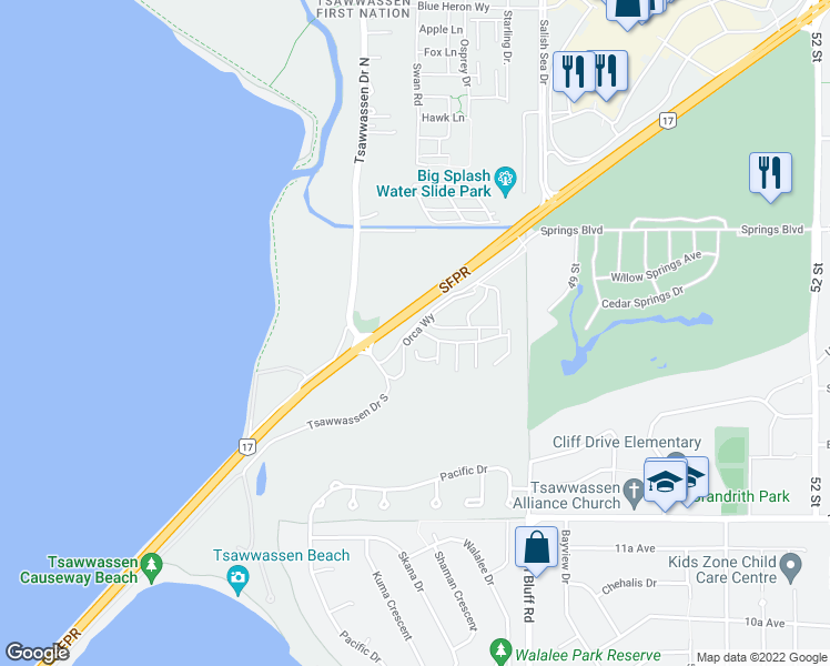 map of restaurants, bars, coffee shops, grocery stores, and more near Orca Way in Metro Vancouver
