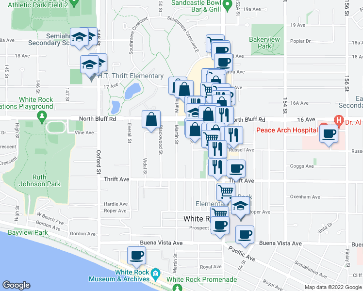 map of restaurants, bars, coffee shops, grocery stores, and more near 1500 Martin Street in White Rock