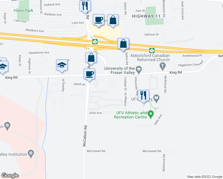 map of restaurants, bars, coffee shops, grocery stores, and more near 33708 King Road in Abbotsford