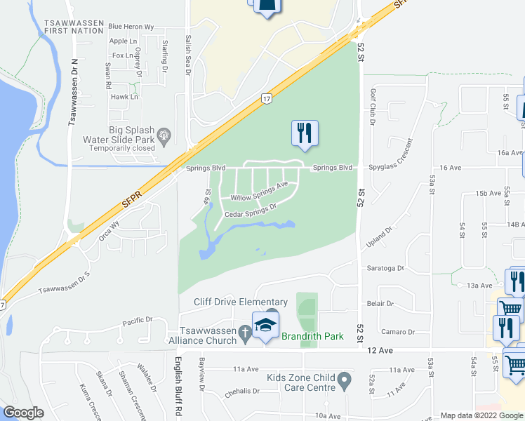map of restaurants, bars, coffee shops, grocery stores, and more near Cedar Springs Drive in Delta