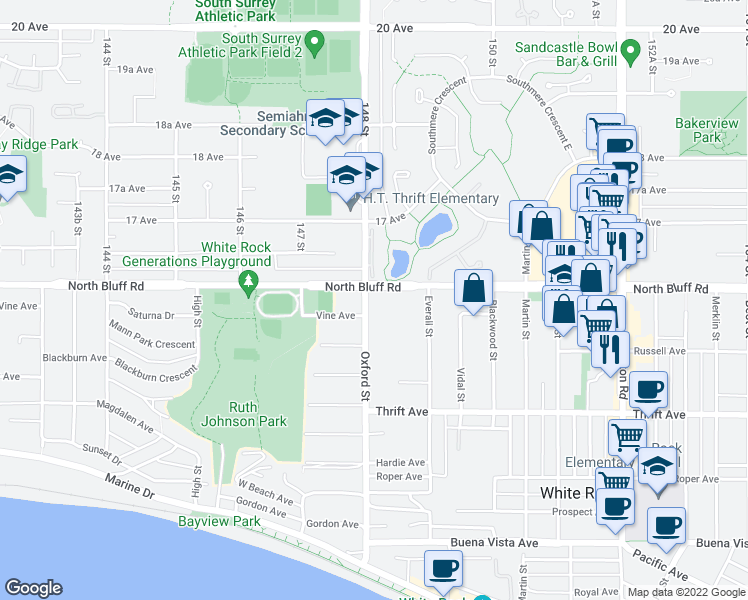 map of restaurants, bars, coffee shops, grocery stores, and more near 14824 North Bluff Road in White Rock
